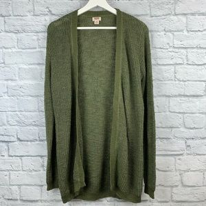 Mossimo Olive Knit Open Front Cardigan Sweater L